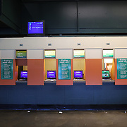 The automated betting screens at Belmont Park during the Jockey Club Gold Cup Day, Belmont Park, New York. USA. 28th September 2013. Photo Tim Clayton