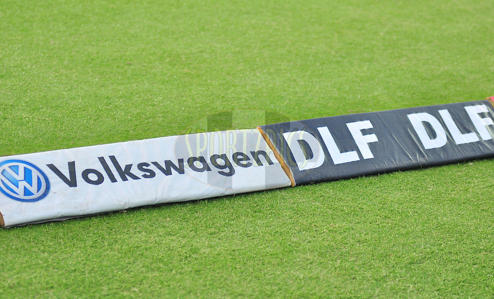 DLF and Volkswagen logo on ground during match 64 of the the Indian Premier League ( IPL) 2012  between The Delhi Daredevils and the Kings XI Punjab held at the Feroz Shah Kotla, Delhi on the 15th May 2012..Photo by Arjun Panwar/IPL/SPORTZPICS