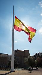 THEMENBILD - die spanische Flagge auf Halbmast am Plaza de Colon. Sie liegt im Zentrum der iberischen Halbinsel und ist Hauptstadt von Spanien. Aufgenommen am 25.03.2016 in Madrid ist Spanien // Madrid is on of the biggest metropolis in Europe. It is located in the center of the Iberian Peninsula and is the capital of Spain. Spain on 2016/03/25. EXPA Pictures © 2016, PhotoCredit: EXPA/ Jakob Gruber