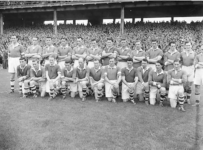 Galway Minor Football Team. All Ireland Football Semi Final Galway v Cork.17.08.1952, 08.17.1952, 17th August 1952..S. Morris, J. McCabe, P. Brady, D. Maguire, P. Carolan, L. Maguire, B. O'Reilly, V. Sherlock, T. Hardy, S. Hetherton, M. Higgins (Captain), E. Carolan, J. J. Cassidy, A. Tighe, J. Cusack. Note: P. Fitzsimons played in drawn game. J. Cusack came on for replay. P. Fitzsimmons was introduced as Sub for J. J. Cassidy in replay...Winners - Galway..