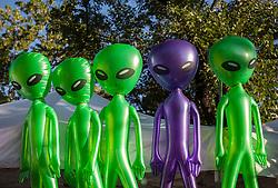 Alien blow up dolls outdoors