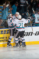 KELOWNA, CANADA - APRIL 17: Justin Kirkland #23, Rodney Southam #17 and Devante Stephens #21 of Kelowna Rockets celebrate the second goal against the Victoria Royals on April 17, 2016 at Prospera Place in Kelowna, British Columbia, Canada.  (Photo by Marissa Baecker/Shoot the Breeze)  *** Local Caption *** Devante Stephens; Rodney Southam; Justin Kirkland;