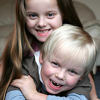 Millenium twins Jay (bottom) and Jordan Doherty from Letham near Forfar who are about to celebrate their fifth birthday.<br /><br />Picture by Graeme Hart.<br />Copyright Perthshire Picture Agency<br />Tel: 01738 623350  Mobile: 07990 594431