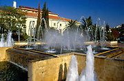 France, Languedoc and Roussillon.  Permignan.  Fountain near Place Arago.