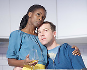 Victory Condition <br /> by Chris Thorpe <br /> directed by Vicky Featherstone <br /> at The Royal Court Theatre, London, Great Britain <br /> press photocall <br /> 6th October 2017 <br /> <br /> Sharon Duncan-Brewster <br /> <br /> Jonjo O'Neill <br /> <br /> <br /> Photograph by Elliott Franks <br /> Image licensed to Elliott Franks Photography Services