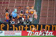 FRISCO, TX - JUNE 12:  Houston Dynamo supporters cheer for their team as they play FC Dallas on June 12, 2013 at FC Dallas Stadium in Frisco, Texas.  (Photo by Cooper Neill/Getty Images) *** Local Caption ***