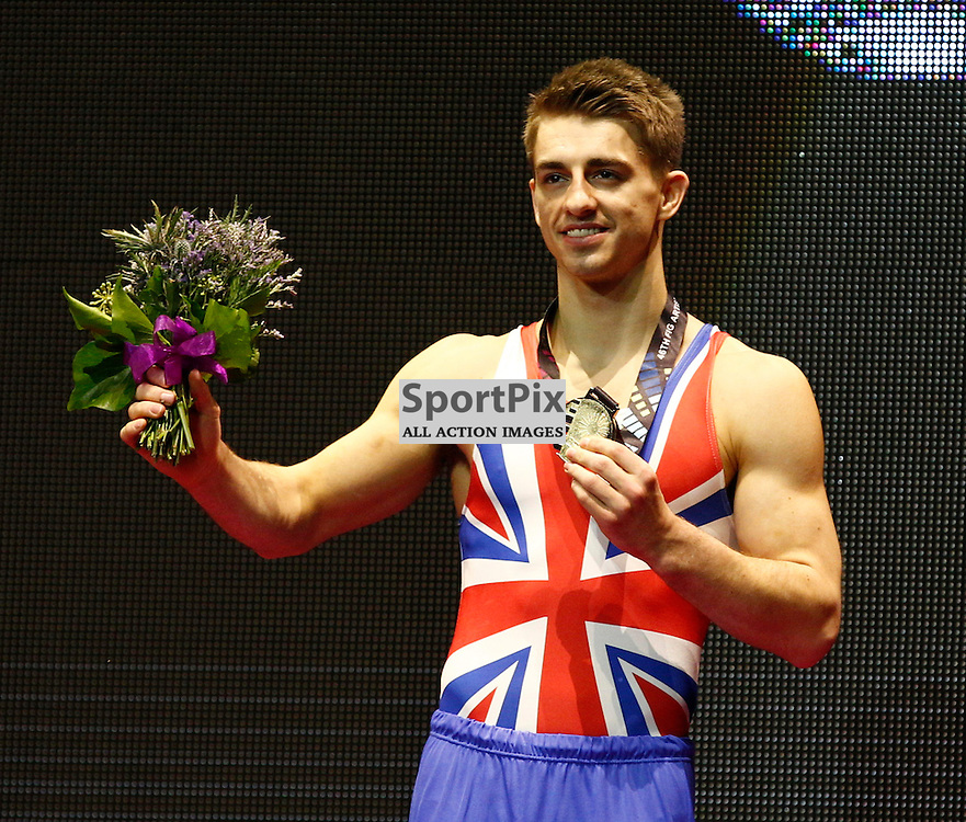 2015 Artistic Gymnastics World Championships being held in Glasgow from 23rd October to 1st November 2015..... Great Britain's Max Whitlock Gold Medal Winner for his performance on the Pommel Horse Day 1 of the Women's & Men's Apparatus Final...(c) STEPHEN LAWSON | SportPix.org.uk