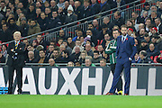 Scotland Manager Gordon Strachan and England Manager Gareth Southgate (caretaker) during the FIFA World Cup Qualifier group stage match between England and Scotland at Wembley Stadium, London, England on 11 November 2016. Photo by Phil Duncan.