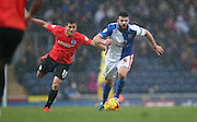 Blackburn Rovers defender, Grant Hanley (5) during the Sky Bet Championship match between Blackburn Rovers and Brighton and Hove Albion at Ewood Park, Blackburn, England on 16 January 2016.