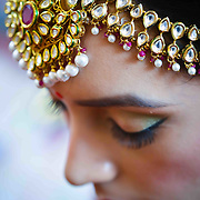 Close up short of the bride in a gujarati wedding.
