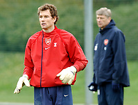 Photo: Javier Garcia/Back Page Images Mobile +447887 794393<br />Arsenal FC UEFA Champions League Training, London Colney, 06/12/04<br />Arsene Wenger hovers behind Jens Lehmann