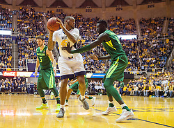Jan 10, 2017; Morgantown, WV, USA; West Virginia Mountaineers forward Elijah Macon (45) attempts to make a move during the second half against the Baylor Bears at WVU Coliseum. Mandatory Credit: Ben Queen-USA TODAY Sports