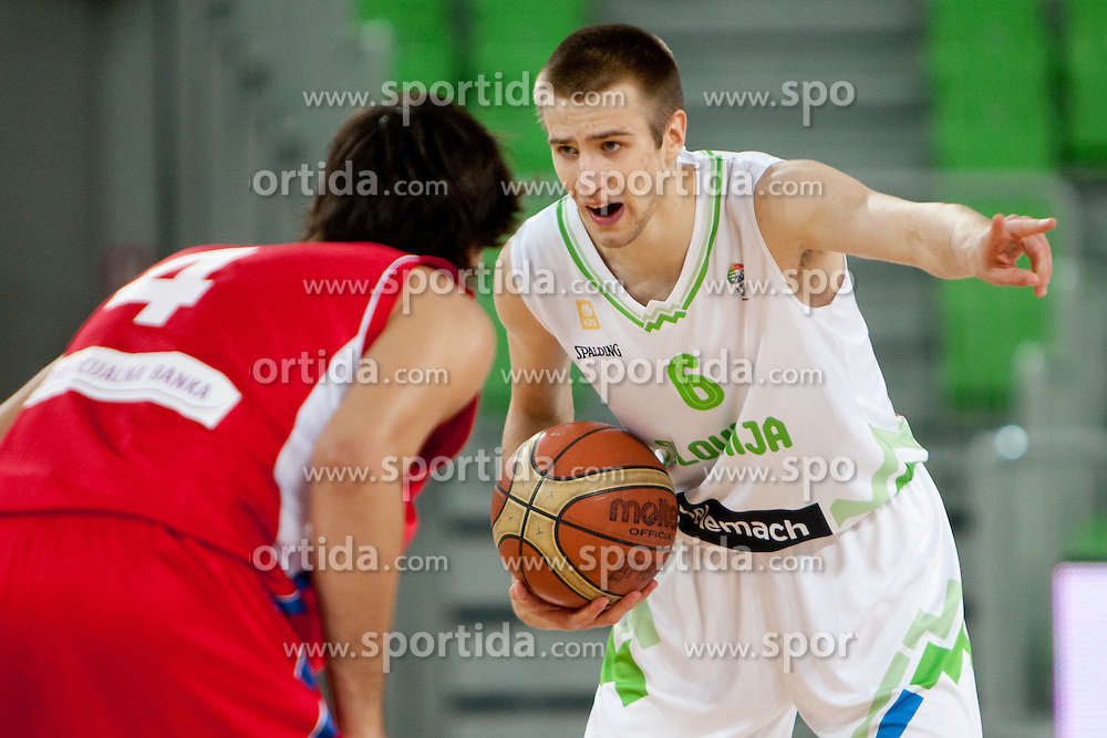 Matej Rojc of Slovenia during friendly basketball match between National teams of Slovenia and Serbia of Adecco Ex-Yu Cup 2012 as part of exhibition games 2012, on August 5, 2012, in Arena Stozice, Ljubljana, Slovenia. (Photo by Matic Klansek Velej / Sportida)