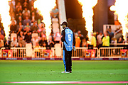 Callum Ferguson of Worcestershire Rapids fielding in front of the flames during the Vitality T20 Blast North Group match between Nottinghamshire County Cricket Club and Worcestershire County Cricket Club at Trent Bridge, West Bridgford, United Kingdon on 18 July 2019.