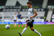 George Evans of Derby County  in action during the EFL Sky Bet Championship match between Derby County and Brentford at the Pride Park, Derby, England on 11 July 2020.