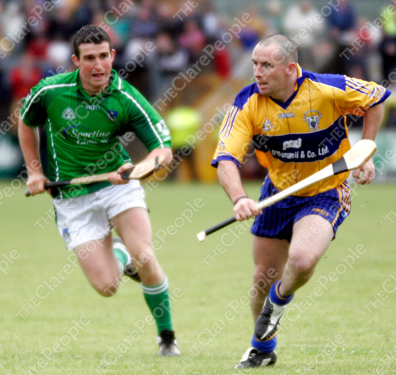 Limerick's Conor Fitzgerald couldn't keep up with Clare's Colin Lynch during their championship clash in Cusack Park on Sunday evening.<br />