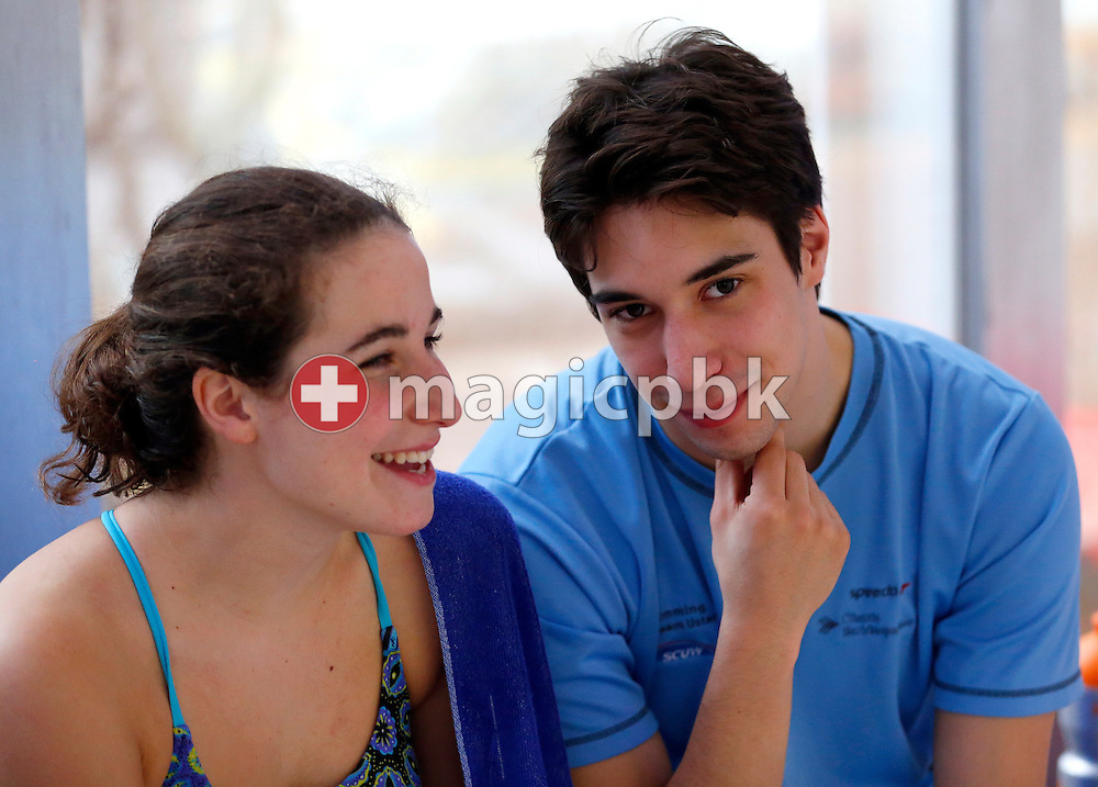 SCUW's Cyril EGGER (R) of Switzerland and his girlfriend Jennifer BOVAY are pictured during the Swiss Swimming Championships at the Piscine des Vernets in Geneva, Switzerland, Saturday, March 16, 2013. (Photo by Patrick B. Kraemer / MAGICPBK)
