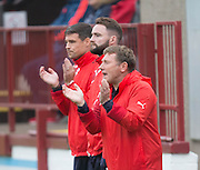 Dundee FC Head of Youth development Jimmy Boyle, James McPake and Darren O&rsquo;Dea encourage the Dens youngsters  - Aberdeen v Dundee, SPFL Under 20s League at Glebe Park, Brechin<br />