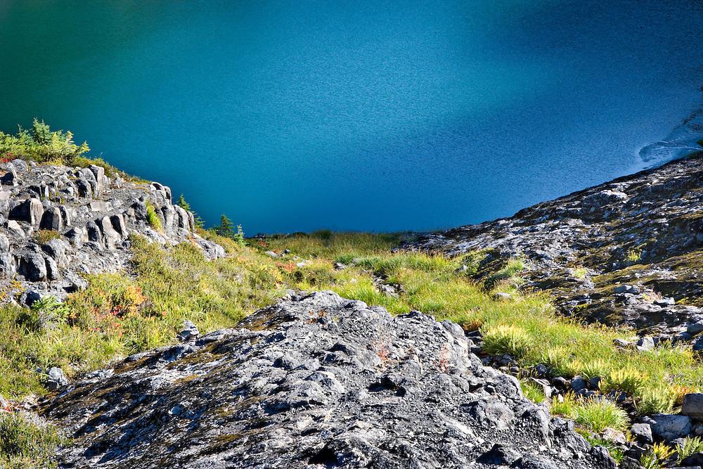 mountain moraine lake with rocky, grassy slopes, Mt Baker, Washington