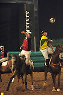 horse ball players fighting for ball, World horseball championship, La Rural Buenos Aires, Argentina 2006, copa Cardon