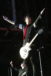 Billie Joe Armstrong of Green Day on the main stage at T in the Park, 10th July 2005..©Michael Schofield..