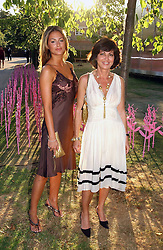 Left to right, SASKIA BOXFORD and her mother PILAR BOXFORD at the Serpentine Gallery Summer party sponsored by Yves Saint Laurent held at the Serpentine Gallery, Kensington Gardens, London W2 on 11th July 2006.<br />