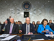 Sen. Chuck Grassley (center) strikes the gavel between Sen. Orrin Hatch (left) and Sen. Dianne Feinstein (right) to start a hearing in the Senate Judiciary Committee for Neil Gorsuch to become an Associate Justice of the United States Supreme Court in the Hart Senate Office Building in Washington, D.C. on Monday, Mar. 20, 2017.