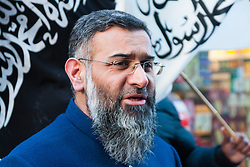 London, 22 November 2013. Radical Islamist preacher Anjem Choudary's Islam4UK hold a protest and leafleting outreach to the public in Chinatown to highlight the persecution of Muslims in China.