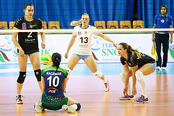 Anna Kaczmar of PGE Atom Trefl Sopot during the volleyball match between Calcit Ljubljana and  PGE Atom Trefl Sopot at 2016 CEV Volleyball Champions League, Women, League Round in Pool B, 1st Leg, on October 29, 2016, in Hala Tivoli, Ljubljana, Slovenia.  (Photo by Matic Klansek Velej / Sportida)