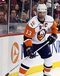 November 16, 2007; Newark, NJ, USA;  New York Islanders right wing Bill Guerin (13) waits behing the New Jersey Devils goal during the first period at the Prudential Center in Newark, NJ.