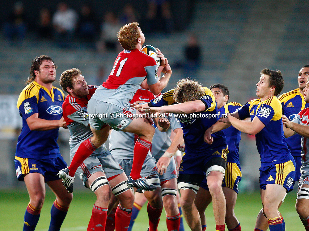 Crusaders Blair Cook takes a high ball during a Super 14 rugby match, Otago Highlanders versus Canterbury Crusaders. Carisbrook, Dunedin, New Zealand. Saturday 7 March 2009. Photo: Simon Watts/PHOTOSPORT
