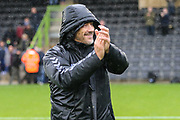 Forest Green Rovers assistant manager, Scott Lindsey applauds the fans at the end of the match during the EFL Sky Bet League 2 match between Forest Green Rovers and Crawley Town at the New Lawn, Forest Green, United Kingdom on 22 September 2018.