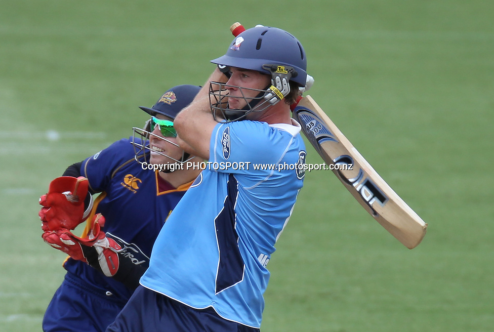 Tim McIntosh batting during his century innings during the semi final ODI playoff match, Auckland Aces v Otago Volts. Colin Maiden Park, Auckland. Wednesday 9 February 2011. Photo: Andrew Cornaga/photosport.co.nz
