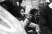Lady initiating the chants, 3rd Criminal Justice March,  London, 9th of October, 1994
