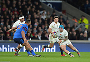 Twickenham, Great Britain, right blue cap. Jacl NOWELL looks the evade the tackle from Romain TAOFIFENUA, during the Six Nations Rugby England vs France, played at the RFU Stadium, Twickenham, ENGLAND. <br /> <br /> Saturday   21/03/2015<br /> <br /> [Mandatory Credit; Peter Spurrier/Intersport-images]