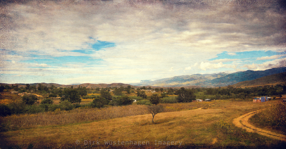 View over a side valley near the city of Oaxaca