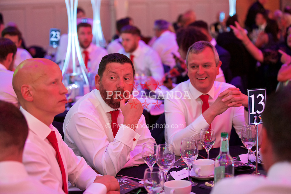 CARDIFF, WALES - Wednesday, June 1, 2016: Wales' equipment manager David Griffiths and Kevin McCusker during charity send-off gala dinner at the Vale Resort Hotel ahead of the UEFA Euro 2016. (Pic by David Rawcliffe/Propaganda)
