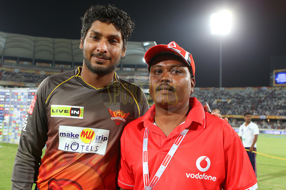 Kumar Sangakkara with the second vodafone fan during match 43 of the Pepsi Indian Premier League between The Sunrisers Hyderabad and Mumbai Indians held at the Rajiv Gandhi International  Stadium, Hyderabad  on the 1st May 2013..Photo by Ron Gaunt-IPL-SPORTZPICS ..Use of this image is subject to the terms and conditions as outlined by the BCCI. These terms can be found by following this link:..http://www.sportzpics.co.za/image/I0000SoRagM2cIEc