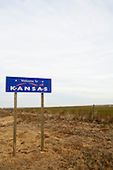 Kansas State sign at Kansas souther border with  Oklahoma