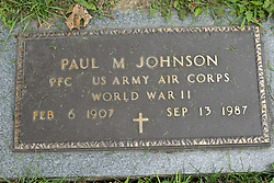 31 August 2017:   Veterans graves in Park Hill Cemetery in eastern McLean County.<br /> <br /> Paul M Johnson Private First Class  World War II Feb 6 1907 Sep 13 1987