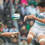 Dominic Ryan, Ireland (left) and Tomas De La Vega, Argentina, challenge for the ball  during the Argentina V Ireland group stage match at Estadio El Coloso del Parque, Rosario, Argentina, during the IRB Junior World Championships. 13th June 2010. Photo Tim Clayton....