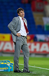 CARDIFF, WALES - Friday, October 11, 2013: Wales' manager Chris Coleman during the 2014 FIFA World Cup Brazil Qualifying Group A match against Macedonia at the Cardiff City Stadium. (Pic by David Rawcliffe/Propaganda)