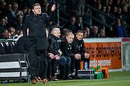 ALMELO, Heracles Almelo - Ajax, voetbal Eredivisie seizoen 2014-2015, 11-04-2015, Polman Stadion, de bank van Heracles, Heracles Almelo coach John Stegeman (L).