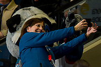 KELOWNA, CANADA - FEBRUARY 2:  A volunteer usher snaps a selfie with Rocky Raccoon the mascot of the Kelowna Rockets against the Kamloops Blazers on February 2, 2019 at Prospera Place in Kelowna, British Columbia, Canada.  (Photo by Marissa Baecker/Shoot the Breeze)