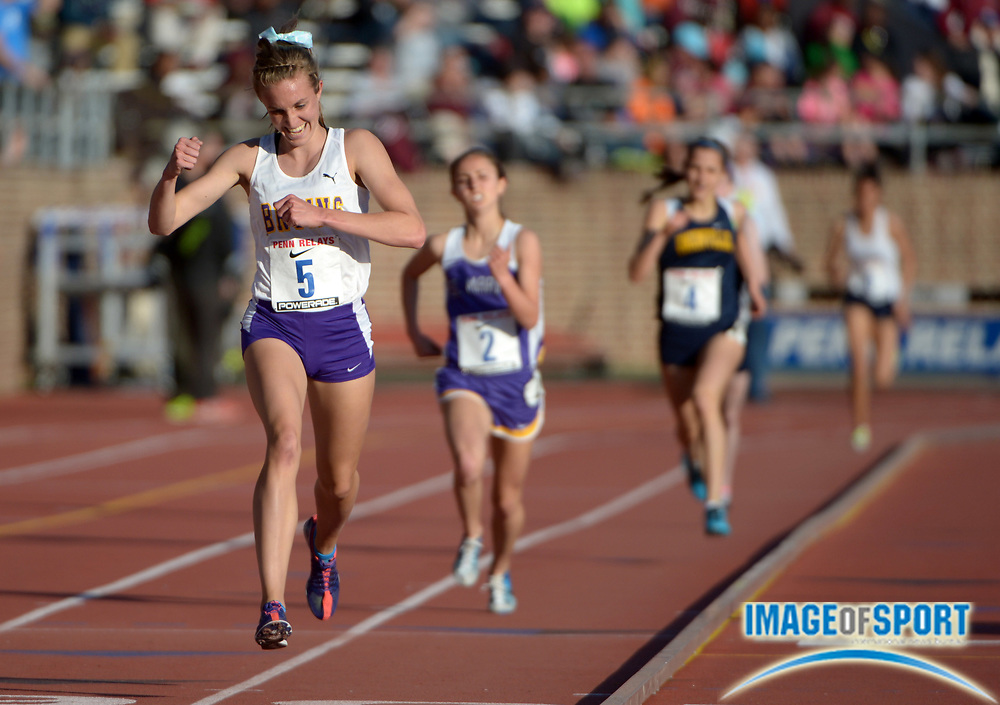 Apr 25, 2013; Philadelphia, PA, USA; Sophie Chase of Lake Braddock celebrates after winning the championship girls 3,000m in 9:35.52 in the 119th Penn Relays at Franklin Field.