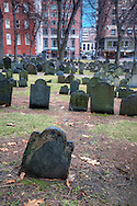 The historic Granary Burying Ground in Boston, Massachusetts.  Established in 1660.