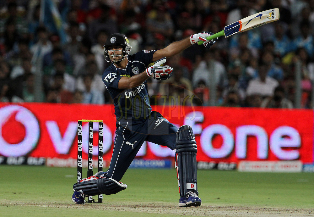 Deccan Chargers player Ishank Jaggi plays a shot during match 35 of the Indian Premier League ( IPL) 2012  between The Pune Warriors India and the Deccan Chargers held at the Subrata Roy Sahara Stadium, Pune on the 26th April 2012..Photo by Vipin Pawar/IPL/SPORTZPICS