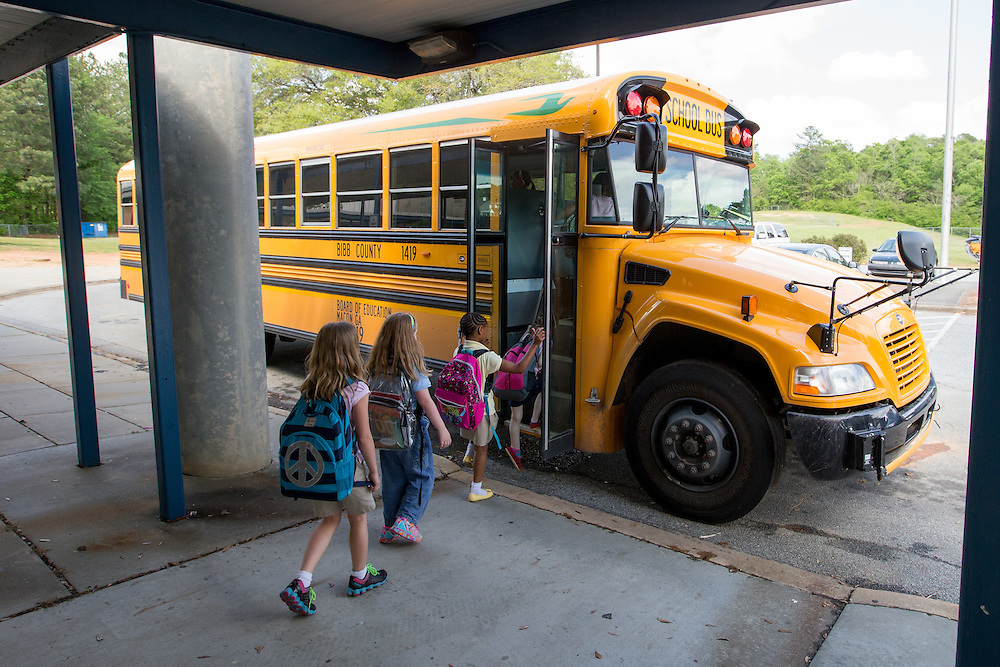 Students at Springdale Elementary School in Macon, Ga. board a propane-powered school bus after school on Tuesday, April 14, 2015. Photo by Kevin Liles for The New York Times