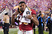 Jan 7, 2019; Santa Clara, CA, USA; Alabama Crimson Tide running back Damien Harris (34) reacts after the 2019 College Football Playoff Championship game against the Clemson Tigers at Levi's Stadium.