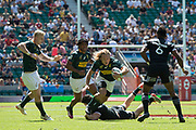 Twickenham, United Kingdom. 3rd June 2018, HSBC London Sevens Series. Game 31 Cup Quarter Final. South Africa vs New Zealand.<br /> <br />  RSA's Werner KOK, runng through though, NZL defence, during the Rugby 7's, match played at the  RFUStadium, Twickenham, England, <br /> <br /> <br /> <br /> © Peter SPURRIER/Alamy Live News